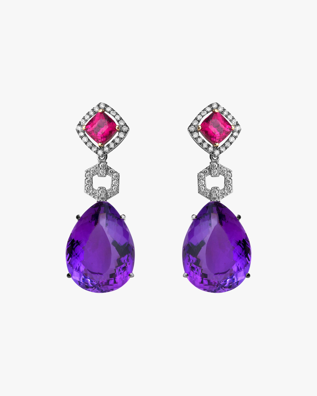 Dorion Soares Rubellite & Amethyst Drop Earrings 2
