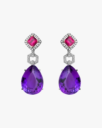 Dorion Soares Rubellite & Amethyst Drop Earrings 1