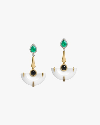 Dorion Soares Onyx & Emerald Diamond Earrings 1