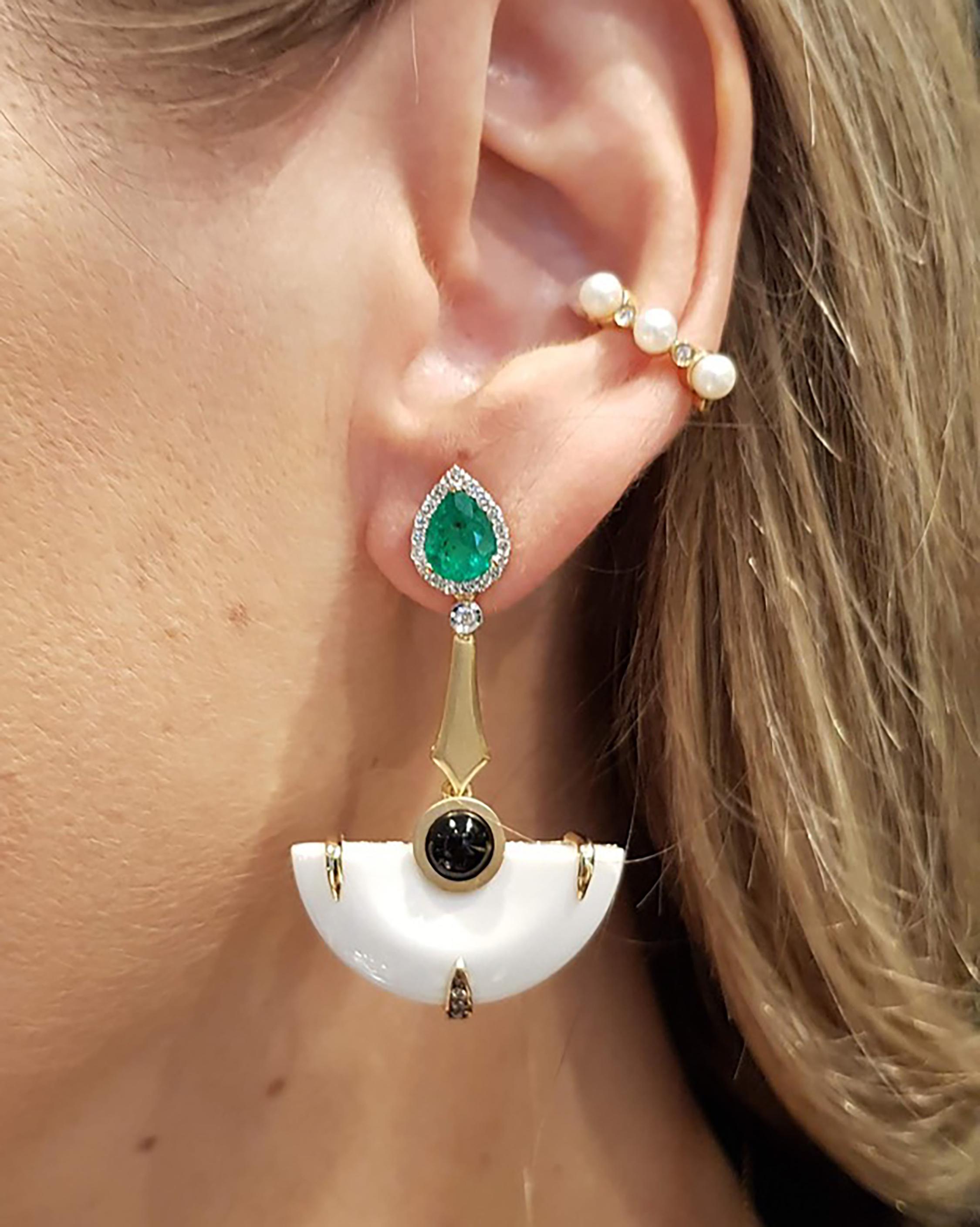Dorion Soares Onyx & Emerald Diamond Earrings 1