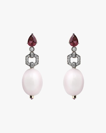 Dorion Soares Rubellite & Diamond Drop Earrings 1