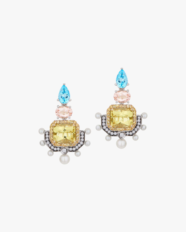 Dorion Soares Gemstone & Diamond Emblem Drop Earrings 1