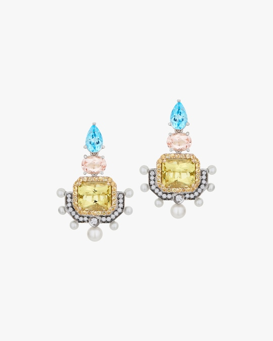 Dorion Soares Gemstone & Diamond Emblem Drop Earrings 0