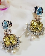 Dorion Soares Gemstone & Diamond Emblem Drop Earrings 1
