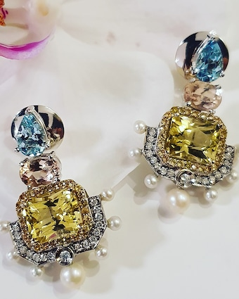 Dorion Soares Gemstone & Diamond Emblem Drop Earrings 2