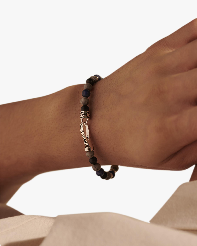 John Hardy Men's Black Onyx & Picture Jasper Silver Bracelet 1