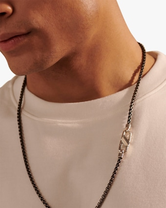 John Hardy Men's Rhodium Caribiner Box Chain 2