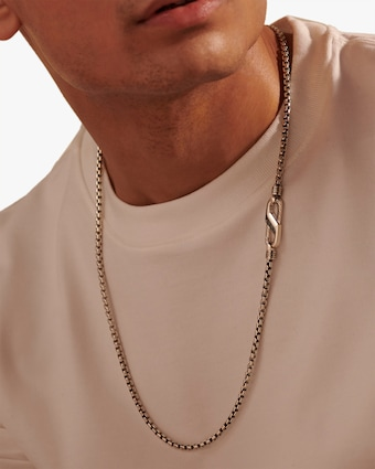John Hardy Men's Silver Caribiner Box Chain 2