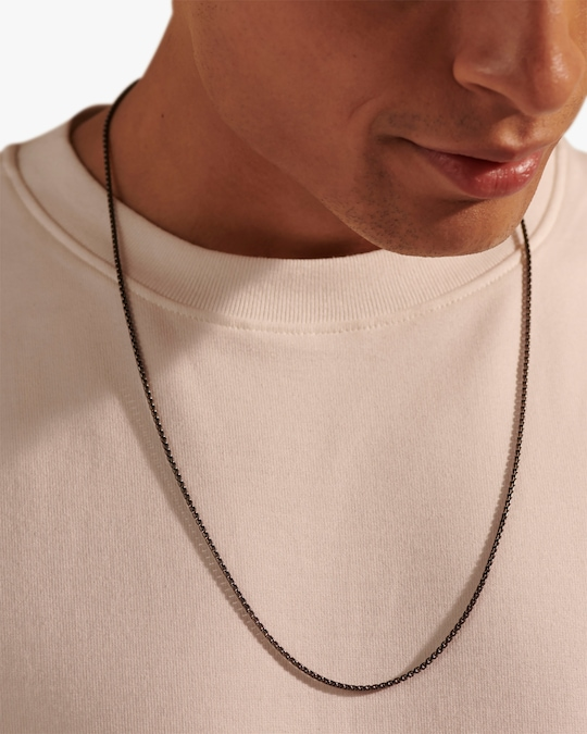 John Hardy Men's Silver Box Chain with Satin Matte Black Rhodium 1