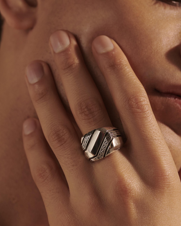 John Hardy Men's Classic Chain Signet Ring 1