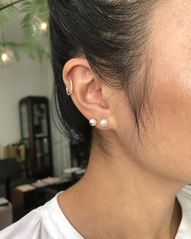 Yi Collection Pearl & Black Diamond Stud Earrings 2
