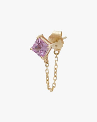 Yi Collection Single Pink Sapphire Chain Earring 1