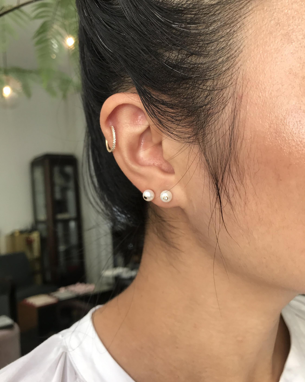 Yi Collection Pearl & Diamond Stud Earrings 2
