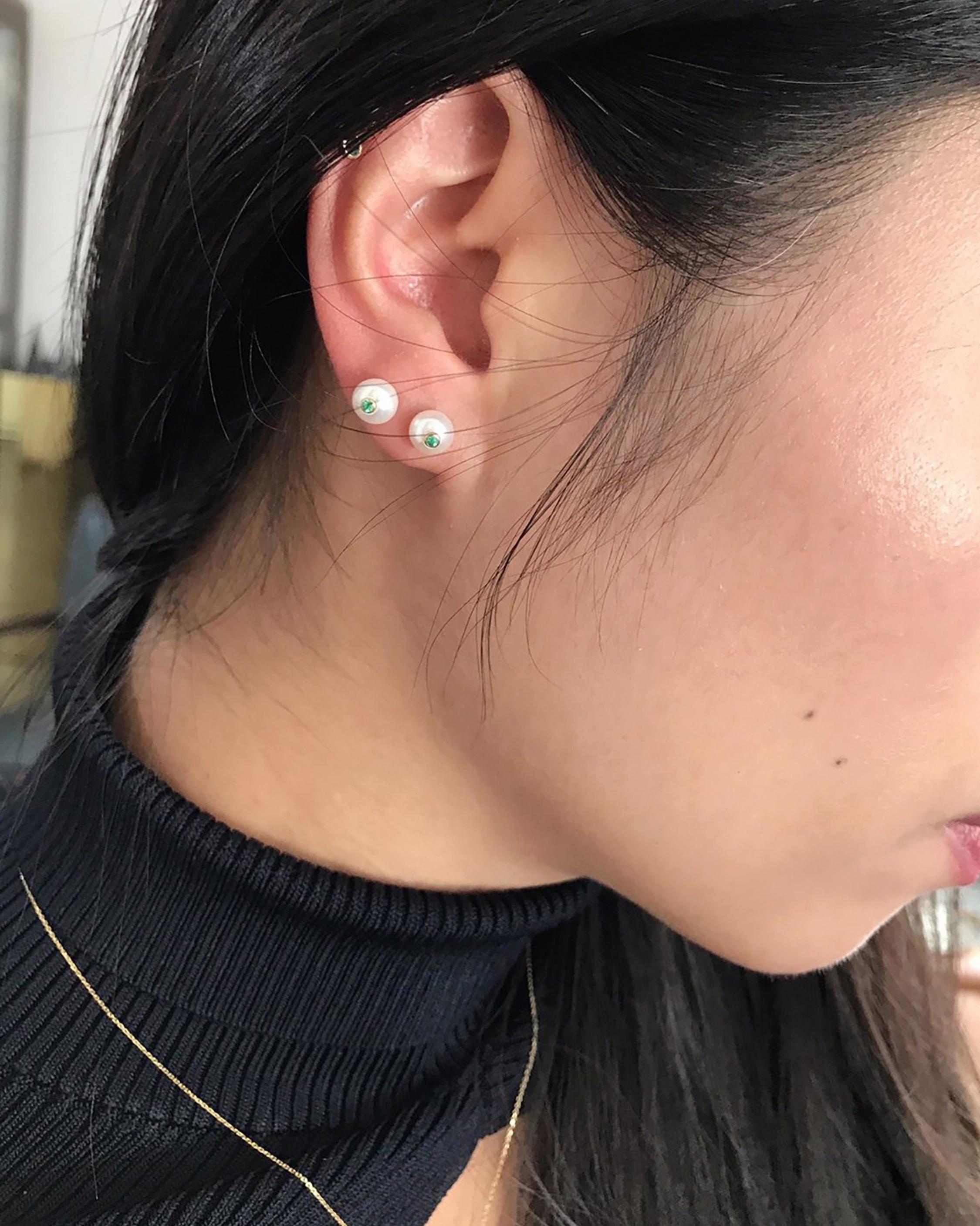 Yi Collection Pearl & Emerald Stud Earrings 2
