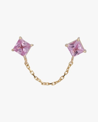 Yi Collection Single Pink Sapphire Linked Earring 1