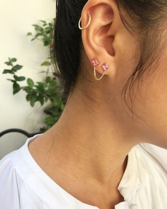 Yi Collection Single Pink Sapphire Linked Earring 2