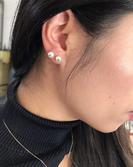 Yi Collection Pearl & Sapphire Stud Earrings 1
