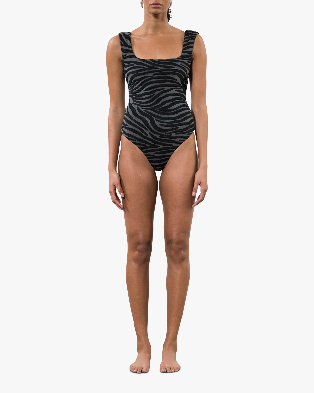 Mara Hoffman Persephone Zebra Print One-Piece Swimsuit 0