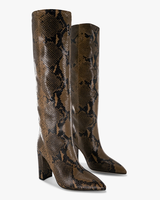 Paris Texas Python-Embossed Leather Boot 1