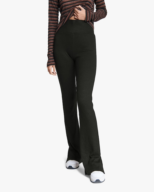 rag & bone The Knit Ribbed Flared Pants 0