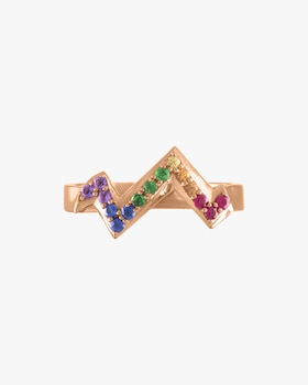 Pavé Gemstone Heartbeat Ring
