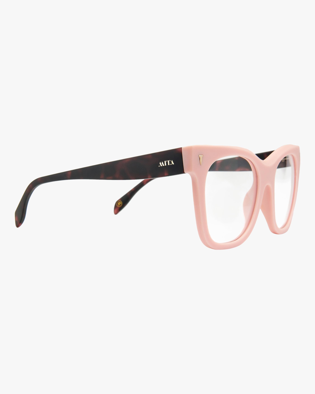 MITA Pink Oversized Blue Block Glasses 1
