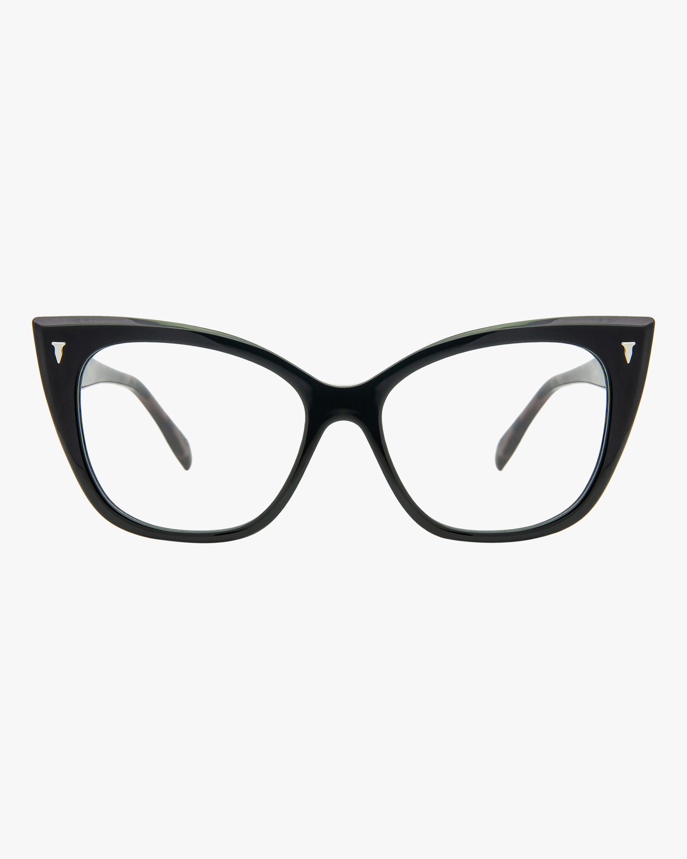 MITA Black Cat-Eye Blue Block Glasses 0