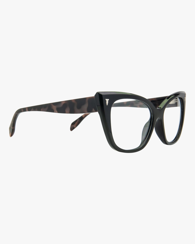 MITA Black Cat-Eye Blue Block Glasses 1