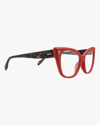 MITA Red Cat-Eye Blue Block Glasses 2
