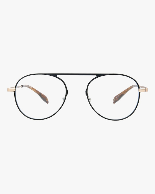 MITA Black Round Blue Block Glasses 0