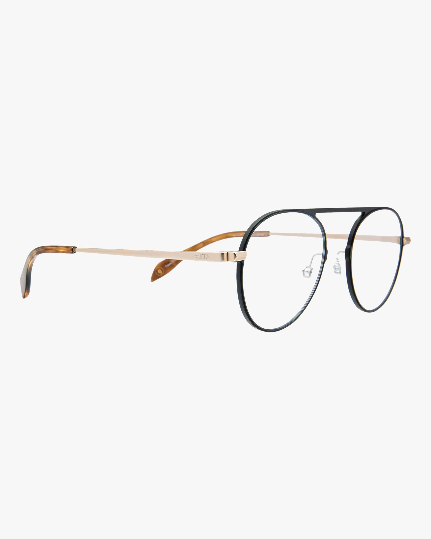 MITA Black Round Blue Block Glasses 1