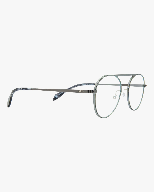 MITA Silver Round Blue Block Glasses 1