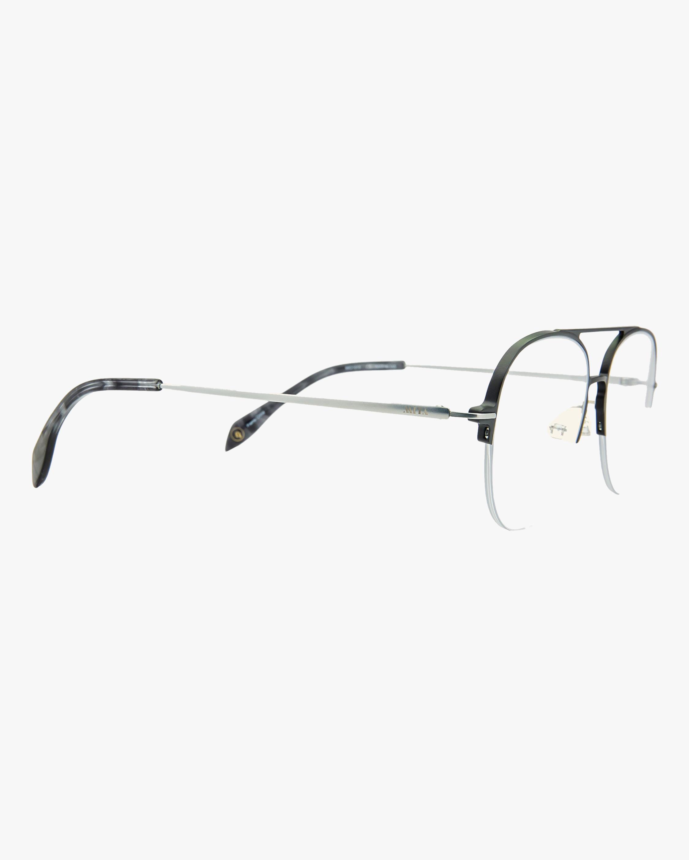 MITA Black Semi-Rimless Blue Block Aviator Glasses 1