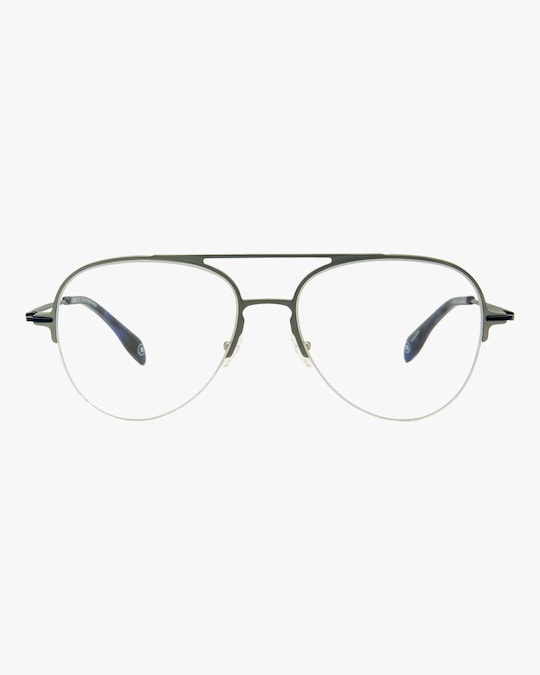 MITA Silver Semi-Rimless Blue Block Aviator Glasses 0