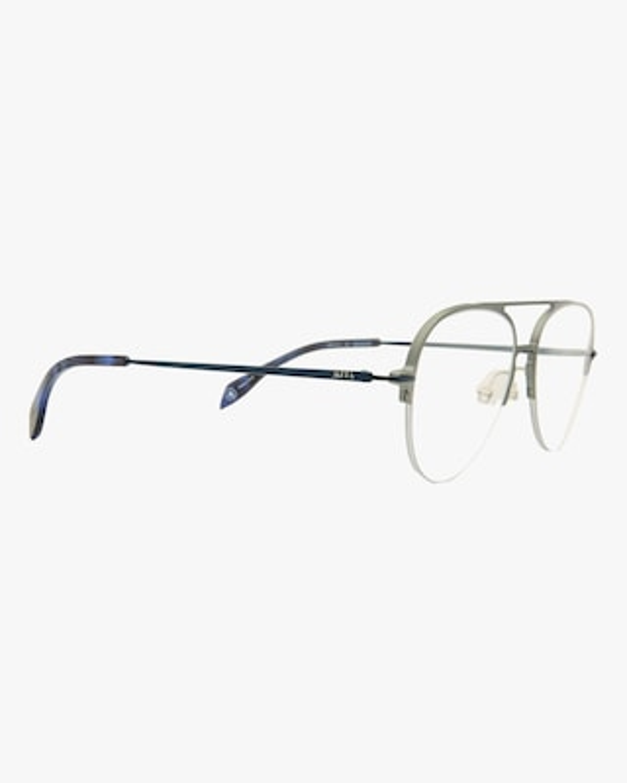 MITA Silver Semi-Rimless Blue Block Aviator Glasses 2