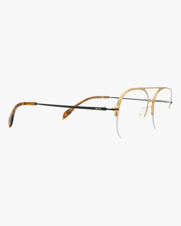 MITA Gold Semi-Rimless Blue Block Aviator Glasses 1