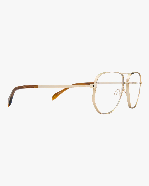 MITA Gold Oversized Blue Block Aviator Glasses 1