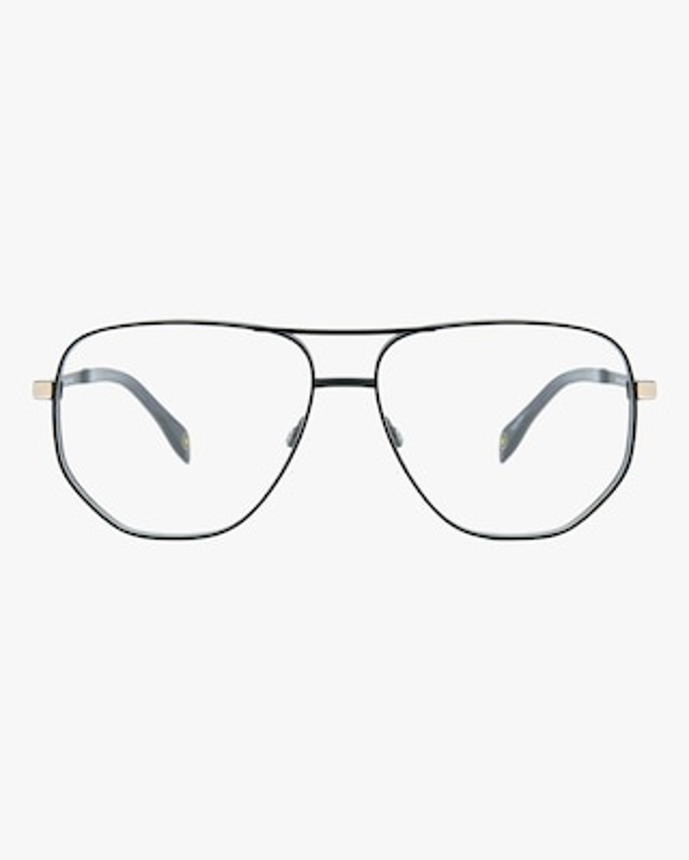 MITA Black Oversized Blue Block Aviator Glasses 1