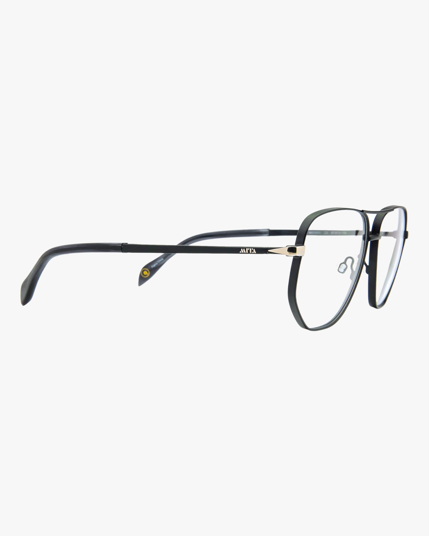 MITA Black Oversized Blue Block Aviator Glasses 2
