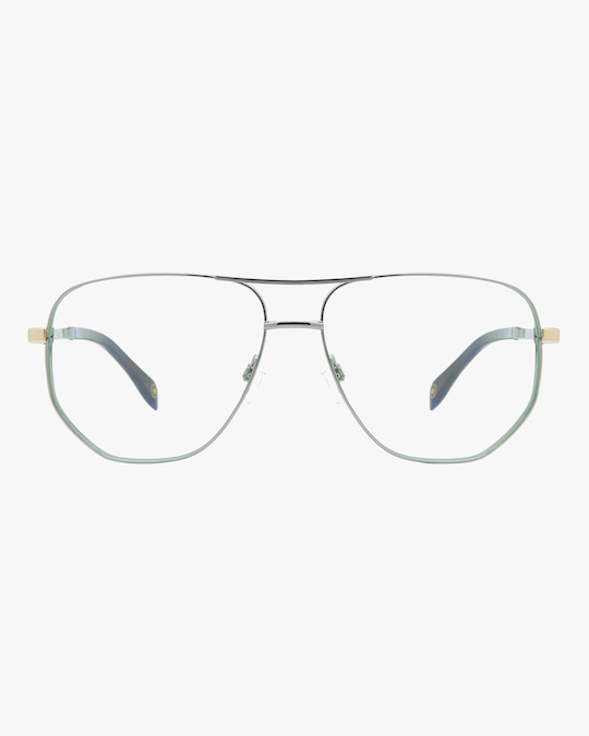 MITA Silver Oversized Blue Block Aviator Glasses 0
