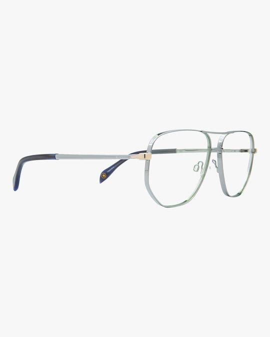 MITA Silver Oversized Blue Block Aviator Glasses 1