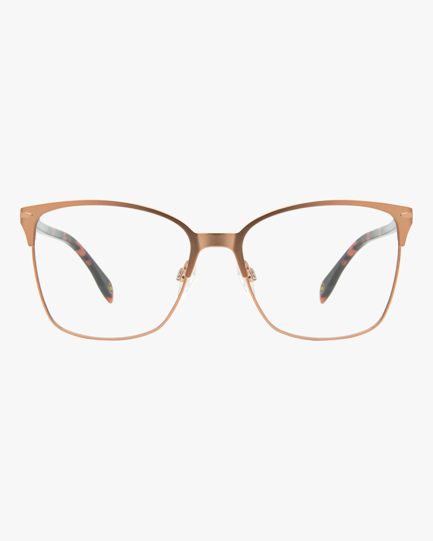 MITA Rose Gold Square Blue Block Glasses 1