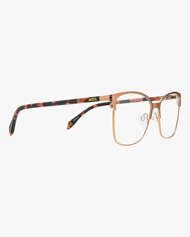 MITA Rose Gold Square Blue Block Glasses 2