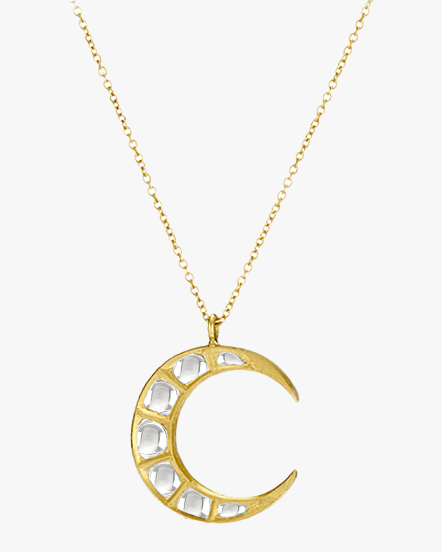 Legend Amrapali Kundan Diamond Crescent Pendant Necklace 1