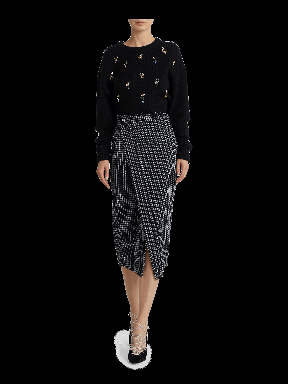 Wool Plaid High Waist Skirt