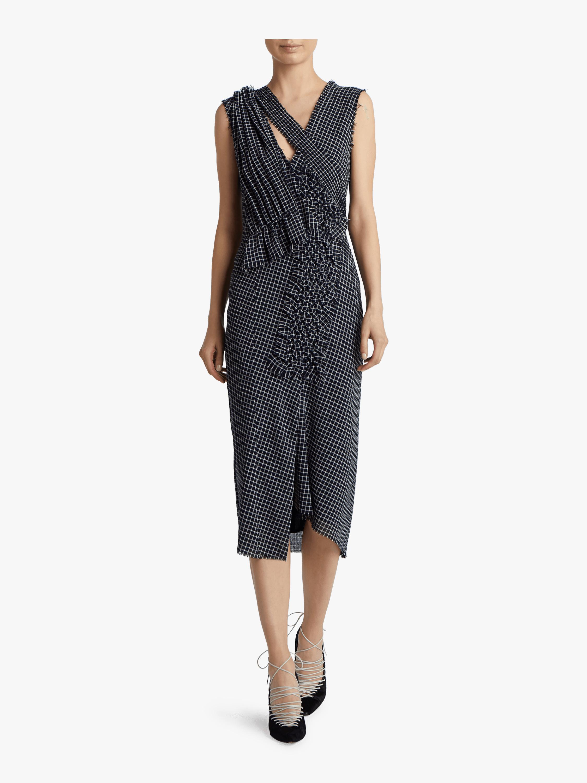 Wool Check Plaid V-Neck Dress