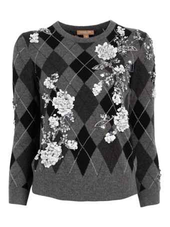 Embroidered Argyle Starlet Sweater