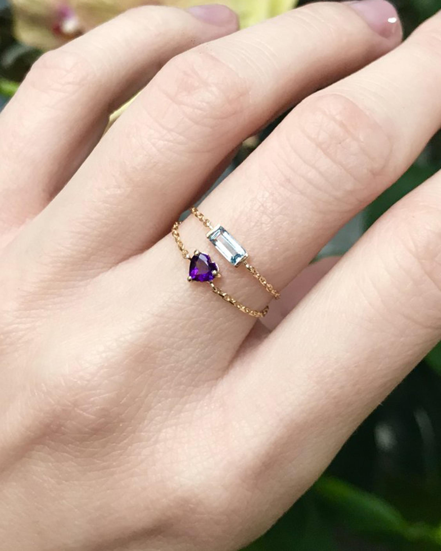 Yi Collection Aquamarine Chain Ring 2