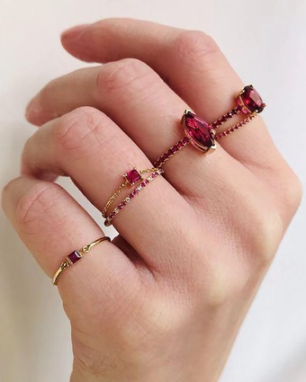 Yi Collection Ruby Chain Ring 2