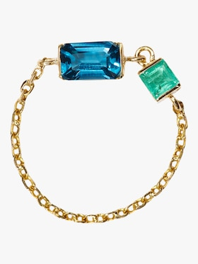 Topaz and Emerald Chain Ring